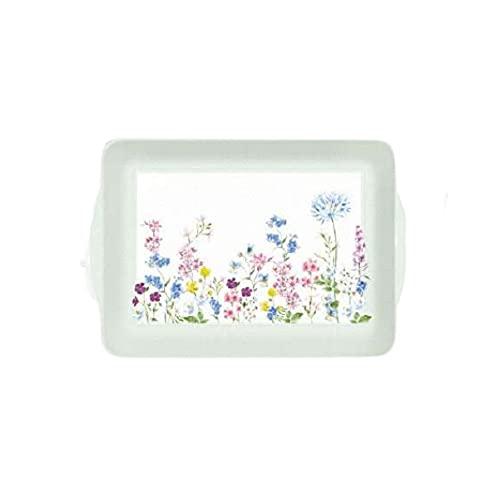 EASY LIFE Bandeja con asas Floraison verde con flores de melamina 46 x 32 cm