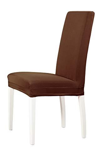 2-er Set Jersey Stuhlhusse   Elastische Stretch-Hussen   Stuhlhussen in Markenqualität   Elegante Stuhlbezüge  Dunkelbraun