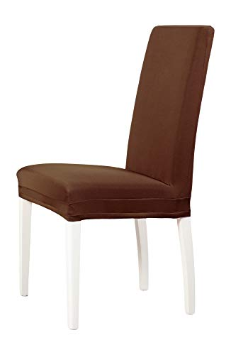 2-er Set Jersey Stuhlhusse | Elastische Stretch-Hussen | Stuhlhussen in Markenqualität | Elegante Stuhlbezüge| Dunkelbraun