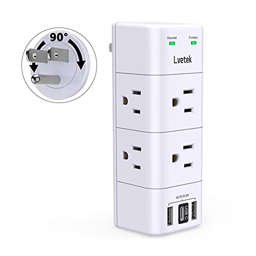 USB Wall Outlet Expander Surge Protector, Multi Plug Outlet,Lvetek Outlet Splitter with 3 USB, 6 Outlet Extender with Rotating Plug, 1680 Joules, Gifts for Women and Gifts for Men
