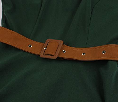 Wellwits Women's 1/2 Half Sleeves Sailor Tie Neck 1940s Retro Vintage Dress M Green