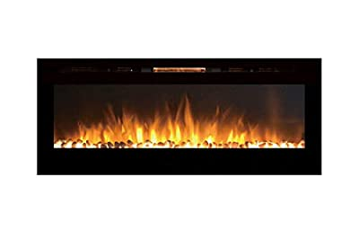 Gibson Living GL2060WS Reno 60 Inch Pebble Built-In Recessed Wall Mounted Electric Fireplace