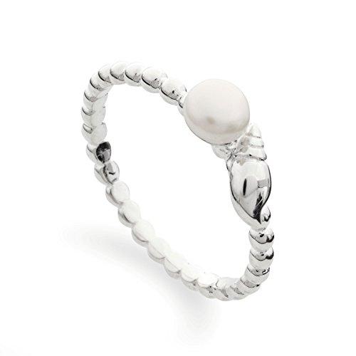 DUR: feiner Kordel-Stapel-Ring mit echter weißer Perle und Muschel, Sterling-Silber 925, Größe 54 (17.2) - Damen