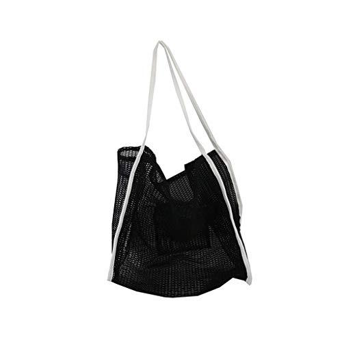 SSUPLYMY Vernetzt Strandtasche Damen Herren Sport Freizeit Hohlgewebte Tasche Baumwollfutter Strohbeutel Weibliche Netzhandtasche Transparente Faltbare wasserdichte Einkaufstasche