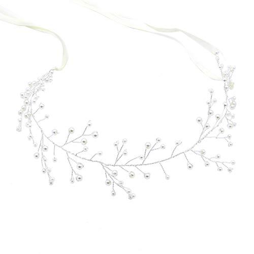 Frcolor Hochzeits-Stirnband, Perlenband, Brautschmuck, Kopfschmuck, Haarschmuck für Hochzeit, Haarschmuck (weiß)