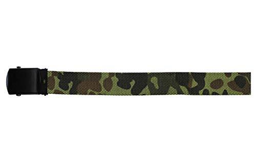 MFH Gürtel mit Metallschloß Koppel Stoffgürtel Länge bis 130 cm verstellbar 3 cm breit viele Farben (Flecktarn)