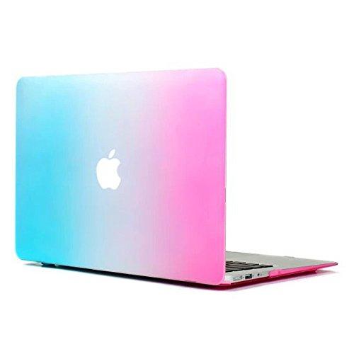 Carcasa rígida para Macbook Air 11' de NSSTAR, colorido color de contraste, superficie mate, protector de pantalla para Apple MacBook Air 11,6' A1370y A1465(verde + púrpura) Blue+Hot Pink MacBook Air 11.6' A1370 & A1465