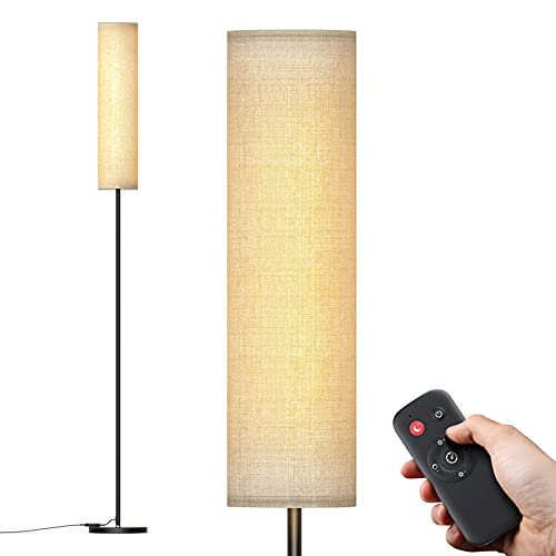 Lámpara de Pie, Temperatura de Color y Regulable 3000K-6800K con Control Remoto, Lámpara de pie de protección ocular con pantalla de lámpara, Lámpara de Pie Salon para Sala de Estar y Dormitorio