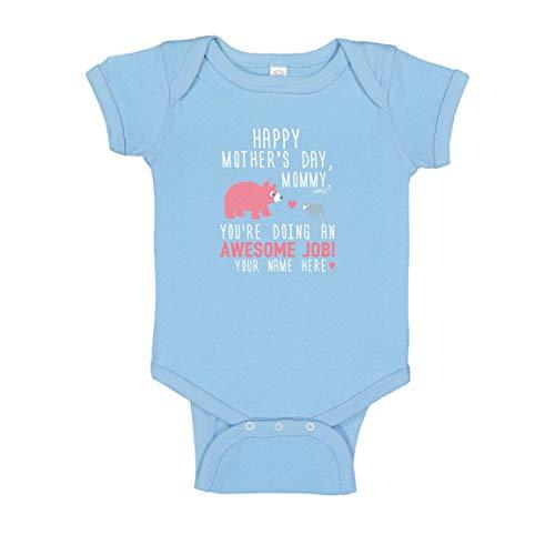Custom Baby Bodysuit Personalized Name Happy Mothers Day Mommy Blue Baby Bear Bodysuit Newborn Light Blue