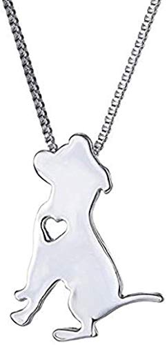FACAIBA Collar de Metal con Colgante de Perro para Mascotas, Cadena de diseño de Paseo Familiar para Gatos y Mujeres, Collar de Cadena de Plata para Hombres de Bulldog Lindo, Regalo de joyería