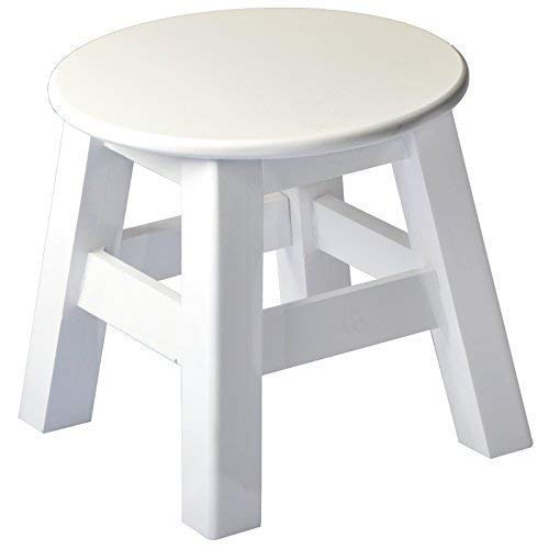 DRULINE Holzhocker Sitzhocker Beistellhocker Blumenhocker Schemel Abstellplatz zur Dekoration aus Holz im Shabby-Chic Stil | L x B x H 13 x 13 x 23 cm | Weiß