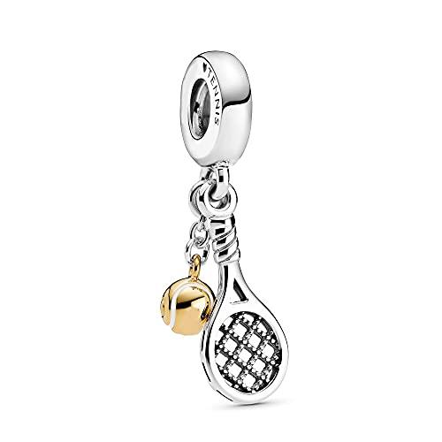 Pandora 925 colgante de plata esterlina Diy cuenta raqueta de tenis bola colgante encanto ajuste moda mujer pulsera brazalete regalo joyería