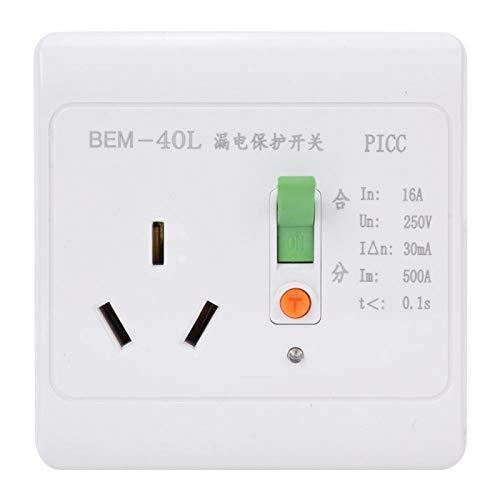 Interruptor de protección contra fugas Protector de enchufe doméstico de 3 agujeros ABS 16A 250V, Interruptor de protección contra fugas