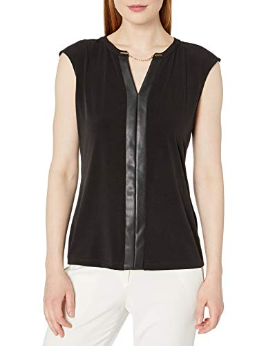 Calvin Klein Women's Faux Leather V-Neck Tank (Regular and Plus Sizes), Black, X-Large