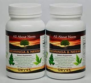 Moringa Neem Leaf Capsules All Natural Organic High Potency (2 Bottle Set) 120 Count Per Bottle Made in USA