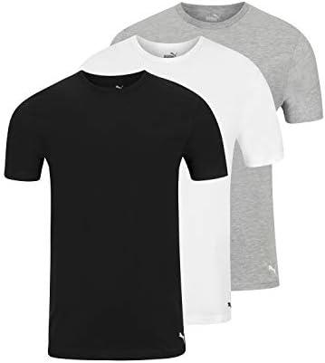 PUMA Men s 3 Pack Crew Neck T Shirts White Gray Black XL product image