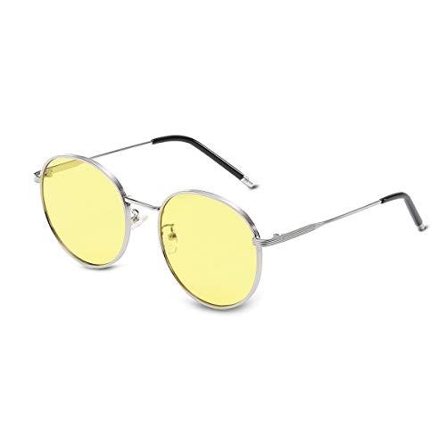 LumiSyne Mujer Retro Gafas de sol Redondas Metálico de estilo,Lentes de color y Gafas de Marco Completo,Accesorios de moda para Fotografía Callejera y Viajes