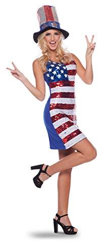 CREATIVE Folat - Vestito da Donna con Bandiera Americana, con Glitter, Taglia S-M
