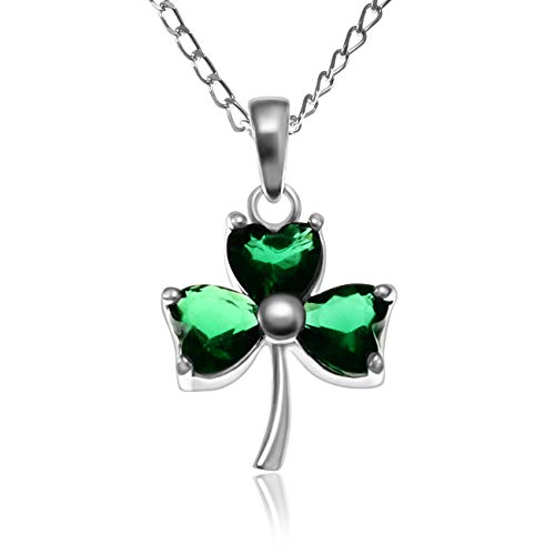 Alexander Castle Sterling Silver Celtic Irish Shamrock Faux Emerald Pendant Necklace with 18' Chain and gift box. Great woman's gift for Christmas or Birthday's