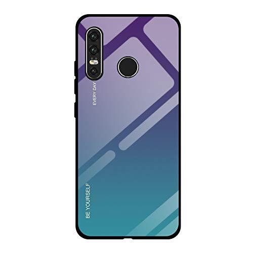 Caler Compatible pour [Coque Gradient] Huawei P30 Etui Mince Mode Coloré Dégradé Arrière en Verre Trempé Case avec TPU Silicone Cadre Bumper Crystal Protection Anti Choc Case(Vert Violet)