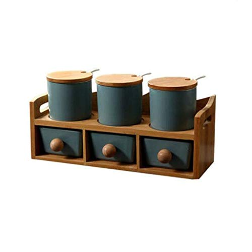 SMEJS Doppel-Keramik-Sauce Bottle-Küche Würzen Glas mit Airtight Bambus Lid - Set von 3- Gewürzdose - Porzellan Kanistern (Color : C)