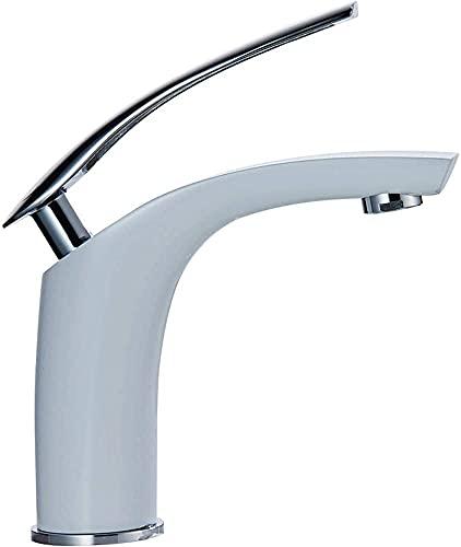 ZDZHT Elegante Grifo de Lavabo Blanco Grifo de baño Monomando Mezclador Grifo del Fregadero Grifo de baño para baño Hecho de latón con manijas Plateadas(Silbergriffe)