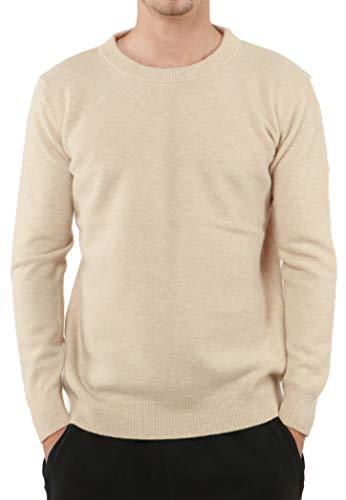 PHELEAD Herren 100% Merinowolle Winterpullover Herren Langarm Slim warm Strick Kaschmir Pullover Herren Sweater (XL, Beige)