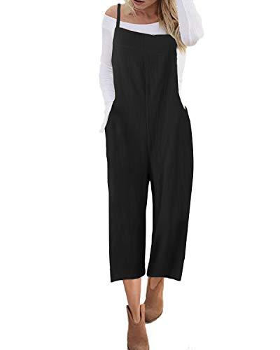 ACHIOOWA Latzhose Damen Oversize Jumpsuit Retro Overalls Lose Playsuit Sommer Baggy Hose Verstellbarer Riemen Schwarz-881905 XL