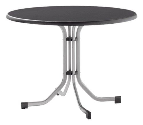 Sieger 272/A Boulevard-Klapptisch, ø 100 cm Aluminiumgestell graphit, Mecalit-Pro-Tischplatte Schieferdekor anthrazit, Tischhöhe ca. 72 cm