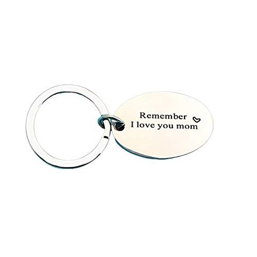 KnBoB Rund Ringe Oval Tag Buchstaben Remember i Love You Mom Schlüsselanhänger Silber-A Edelstahl Anhänger Schlüsselband Schlüsselbund