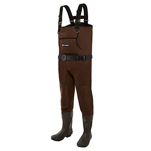TideWe Neoprene Waders, Cleated Bootfoot Men Chest Waders, Waterproof Durable Fishing & Hunting Waders Chest Brown Size 8