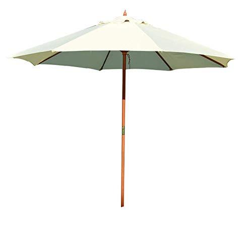 Baibao Sombrilla de jardín de 2,7 m (parte superior individual/doble superior), resistente al agua, dos modelos para playa, piscina, terraza, balcón, terraza (color: blanco, tamaño: sombra de madera)