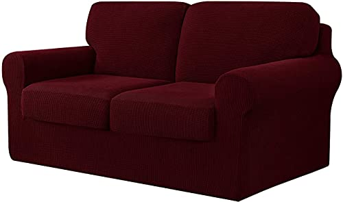 LINFKY 7-Piece Sofa Cover, with Three Separate Backrests and Cushions with Elastic Band, Stretch Jacquard Sofa Slipcover Replacement Anti-Slip Furniture Protector (Wine Red,2 Seater(145-178cm))