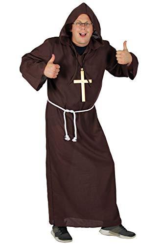 Foxxeo Deluxe Mönch Kostüm für Herren braun Mönche Tunika Kutte Kirche Größe XXXXL