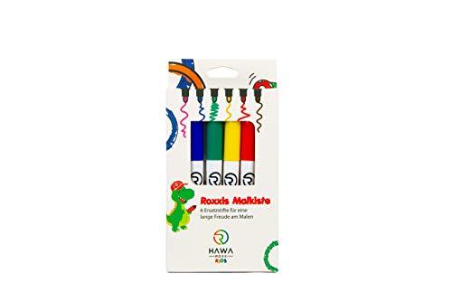HAWA ROXX Kids Roxxies, set di pennarelli per bambini per colorare le tovagliette in silicone – 6 pennarelli atossici e idrosolubili secondo gli stand