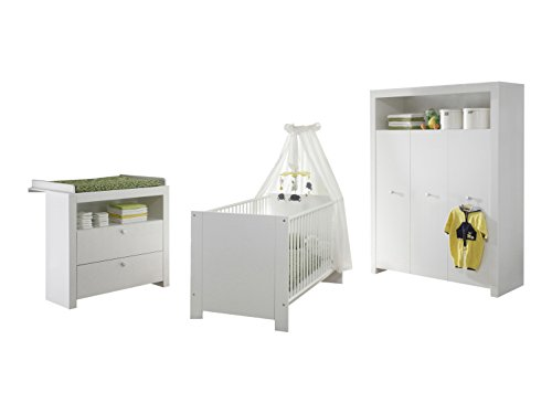 trendteam smart living  Babyzimmer 3-teiliges Komplett Set Olivia in Weiß  mit viel Stauraum und pflegeleichten Oberflächen