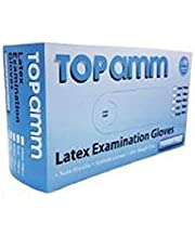 Topamm Latex Examination Surgical Gloves, Powder Free, Made in Malaysia, Non-Sterile, Disposable,Food Safe,Indigo Color, Convenient Dispenser Pack of 100 Gloves, Size LARGE