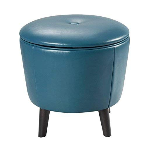 Madison Park Crosby Storage Ottoman-Solid Wood, Leatherette Cover Toy Chest Footstool Modern Style Accent Stool, Corner Seating, Lift Top Organizer Vanity Chair, Bedroom Furniture, See Below, Blue