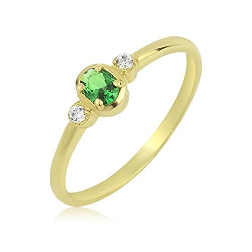 Goldring 585 Solitär Ring Gelbgold 14K Damen mit Grünem Oval Zirkonia Stein 60 (19,1 mm Ø)