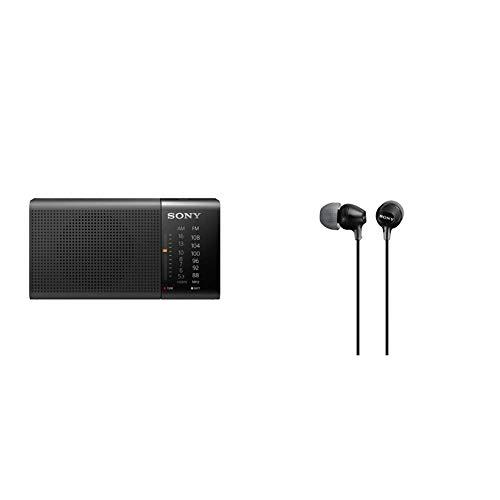 Sony ICF-P36 - Radio analógico portátil FM/Am, Negro, 13.15 x 6.95 x 4.35 cm + MDR-EX15LP Auriculares In-Ear, Negro, 9 mm