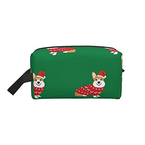 Bolsa de maquillaje Corgi Christmas Cute Dog Bolsa de viaje cosmética Bolsa de aseo grande Organizador de bolsa de maquillaje portátil