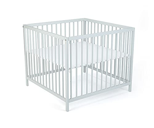 LaWaLu Karl Playpen 95 x 95 cm Square for Babies and Toddlers, 3-Position Height-Adjustable, Light Grey