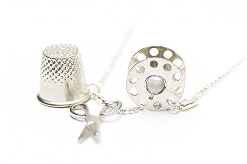 Miniblings 3er Set Nähset Kette Nähen 80cm Schneiderin Schere Fingerhut Spule - Handmade Modeschmuck - Kugelkette versilbert