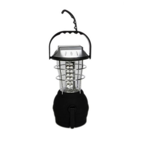 36 LED Ultra Bright Rechargeable Crank Dynamo Solar Powered Camping Tent Light Lantern 3 Modes - Black