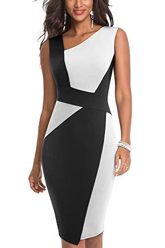 HOMEYEE Damen Vintage Ärmelloses Business Kleid aus Stretch mit Kontrastfarbe B517 (EU 36 = Size S, Weiß + Schwarz)