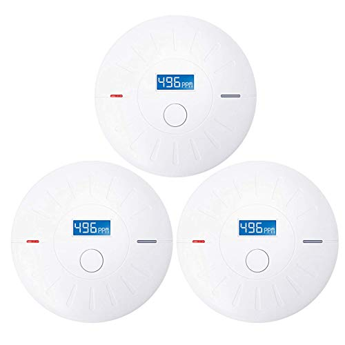 3 Pack 10 Year Battery Operated Smoke and Carbon Monoxide Detector, Portable Fire Co Alarm for Home and Kitchen