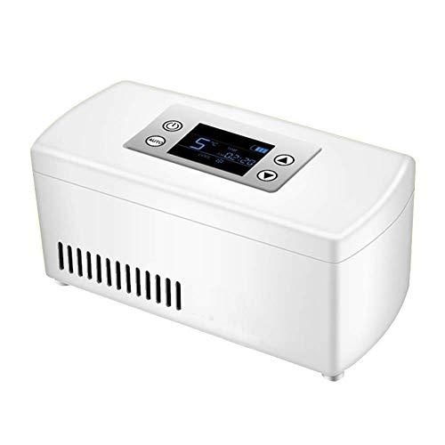 FZYE Enfriador de insulina portátil, Caja refrigerada, Pantalla LCD, Estuche Enfriador de insulina, Medicina Recargable, Mini Enfriador de Nevera para Viajes en automóvil, Blanco, 9x10x