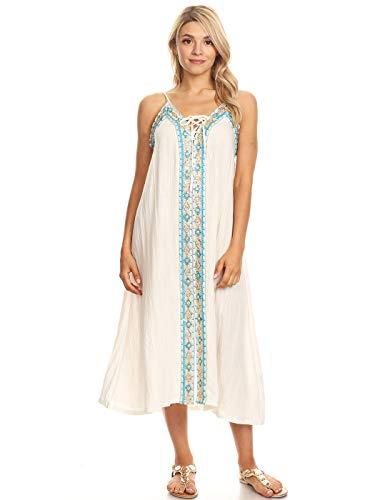 ANNA-KACI Casual Caftan Boho geborduurd lange Maxi badpak Cover up strand jurk
