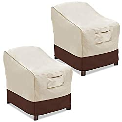 "MAXIMUM PROTECTION: Featuring Heavy Duty 100% 600D Oxford fabric, this Valige patio cover is made to protect your patio furniture from outdoor elements like sun, dirt, rain, snow.Our Beige & Brown 2 Pack Medium chair cover measures 30""W x 37""D x31""H...."