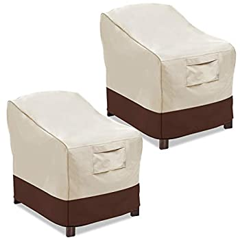 Vailge Patio Chair Covers Lounge Deep Seat Cover Heavy Duty and Waterproof Outdoor Lawn Patio Furniture Covers   2 Pack - Large Beige & Brown  .